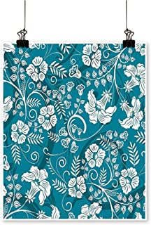 Single paintingRomantic Modern Design with Beams Blossoms Leaves Flowers Image Petrol Blue Teal White Office Decorations,12
