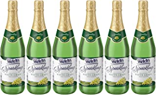 Welch's Sparkling White Grape Juice Cocktail, Non-Alcoholic, 25.4 Ounce Bottles (Pack of 6)