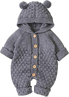 Baby Boy Romper Girls Bodysuit Knitted Hooded Jumpsuit Newborn Kids Cute Toddler Clothes