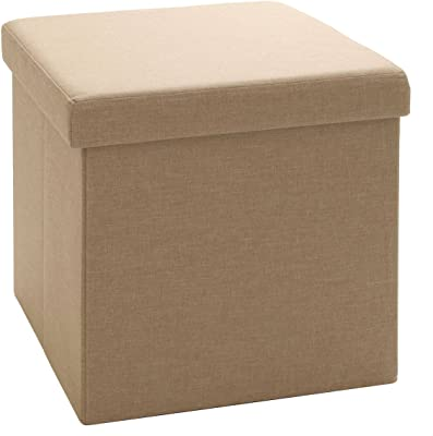 Seville Classics Foldable Storage Cube/Ottoman, Oatmeal Beige