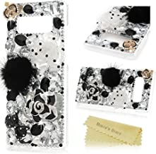 Note 8 Case, Mavis's Diary Clear Slim Fit Luxury 3D Handmade Bling Crystal Rhinestone Diamonds White and Black Lotus Feather Ball Bow Full Body Protective Hard PC Cover for Samsung Galaxy Note 8