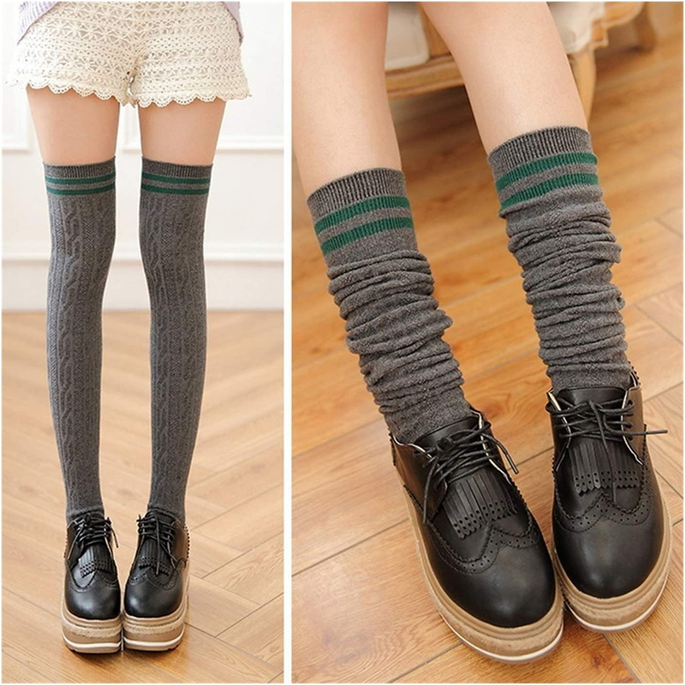Extra Long Mid Thigh High Women Over Knee Leg Autumn Winter Knitted Stripe Long Stocking for Ladies Girls (Color : Dark Gray, Size : One Size)