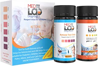Keto Urine Test Strips and One Pad pH Test Strips, Pack of 2. Ketone Strips 150ct, pH 200 ct. Urinalysis pH and Ketosis Testing for Ketogenic, Low Carb, Keto Alkaline Diet. Diabetes Ketoacidosis Test