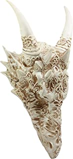 Ebros Large Gothic Tribal Stencil Tattoo Design Bone Color Horned Dragon Head Skull Wall Decor Or Desk Statue 14.75