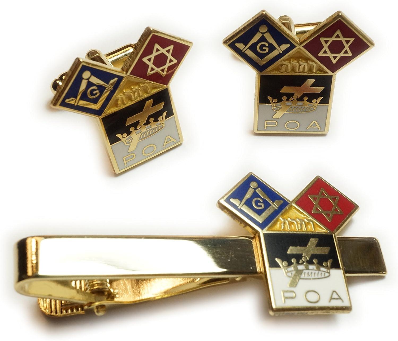 Templar Knights Euclid POA Jewish Freemason Masonic Tie Bar Clip Cuff Links Cufflinks Set