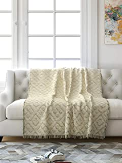 Saral Home Soft Cotton Unique Design Tufted Throw/Sofacover -140x160 cm (Ivory)