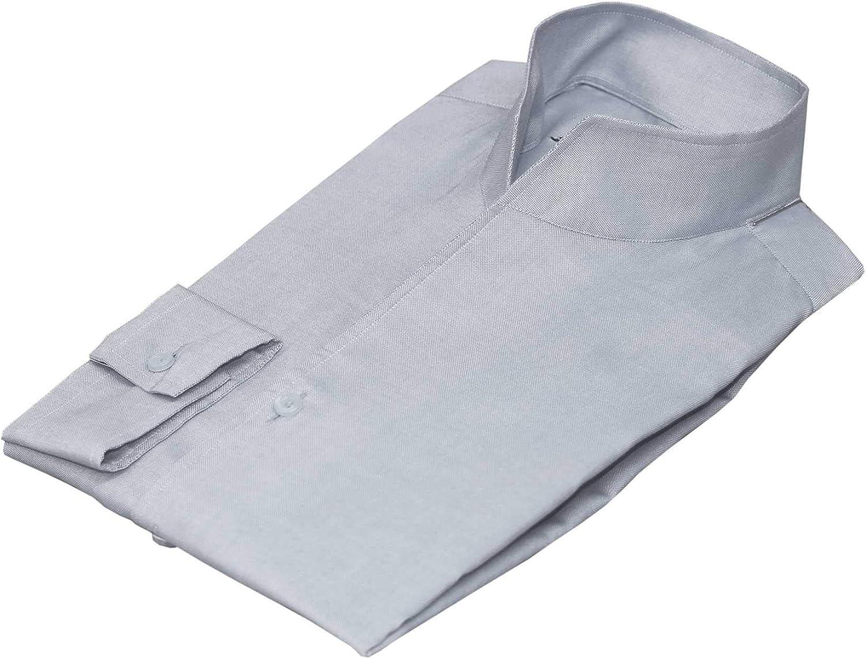 Mens Columbus Mall high Open 2021 model Collar Shirt Grey V New 100% Button Cotton no
