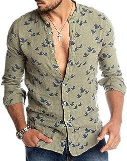 MakingDa Men's Cotton Long Sleeve Collarless Shirts Slim Bird Print Work Shirt Funky Casual Lightweight Button T-Shirts Ha...
