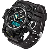 Men's Digital Watch Large Face LED Wrist Watches Military Sports Digital Analog Dual Time Outdoor...