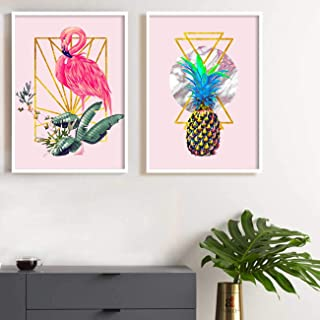 Painting Mantra Flamingo & Pineapple Theme Set of 2 Framed Canvas Art Print, Painting -13x17 inchs