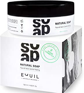 Natural Face and Neck Exfoliating Cleanser - Equil Cosmetics - Gentle Facial Peeling Soap - Exfoliator - Enriched with Shea Butter - Jojoba Oil - Avocado Oil - Olive Oil - Exfoliates Cleans