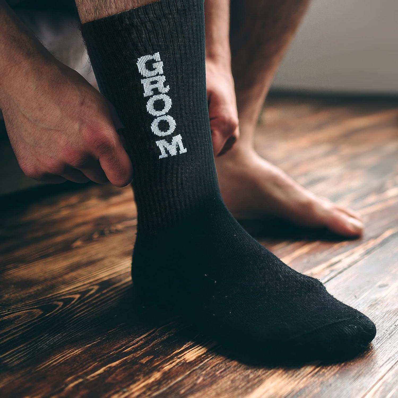 Riyiper 8 Pairs Groomsmen Socks Groom Socks Best Man Socks Set Groomsmen Wedding Socks Funny Dress Socks for Wedding Engagement