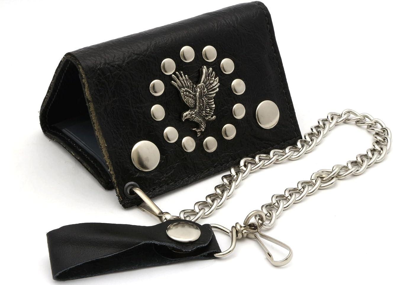 あそこ大いにズボン三つ折りブラック本革Biker Wallet with aメタルイーグルデザインwith aチェーン