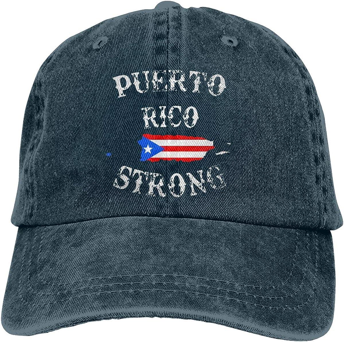 YISHOW Unisex Puerto Rico Strong Yarn-Dyed Denim Baseball Cap Adjustable Topee for Men Or Women