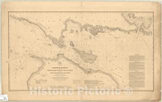Historic Map : Mackinac, Straits of 1856, Straits of Mackinac with The approaches thereto from Lakes Huron and Michigan and The Entrance by The Detour Passage to The St. Mary's River : 70in x 44in
