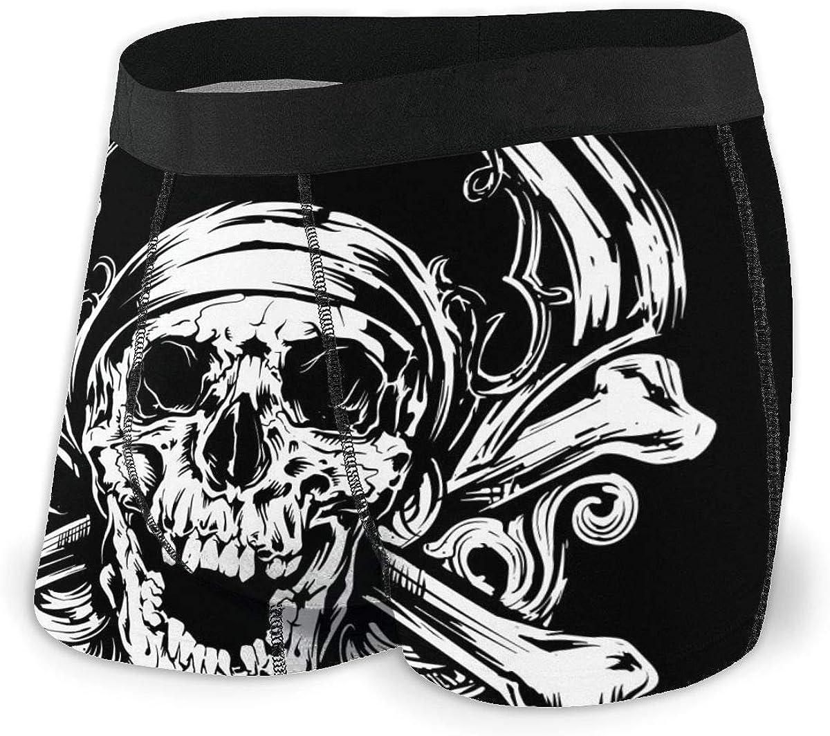 Randolph Wordsworth Mens Boxer Briefs Pirate Skull Crossbones Black Breathable Underwear
