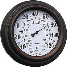 FLAMEER Interior al aire libre higrómetro/termómetro, indicador de humedad Indicador de temperatura Monitor de humedad, higrómetro analógico Humidor