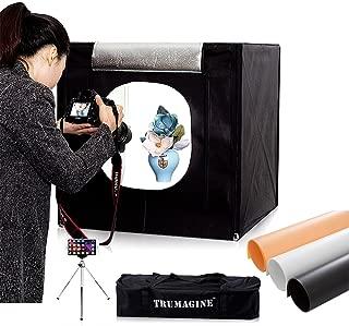 TRUMAGINE 16x16inch /40x40CM Portable Photo Studio LED Cube Lightbox Photography Lighting Shooting Tent Kit with 3PVC Backdrops,Camera Mini Tripod and Carry Bag