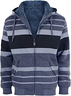 Men's Hoodies Flannel Full Zip Sherpa Lined Heavy Fleece Plaid Warm Hooded Jackets,S-5XL