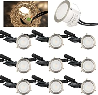 Airand 10Pcs Recessed LED Deck Lights Kit 12V LED Step Lighting Waterproof IP67, Led in Ground Lighting for Steps, Stair, Patio, Floor, Entryways, Outdoor Led Landscape Lighting (Warm White)