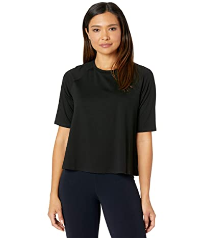 Eileen Fisher Fine Jersey Crew Neck Elbow Sleeve Top (Black) Women
