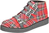 T.U.K Pointed Creeper 4 Straps Unisex Boots Red Tartan - 42 EU