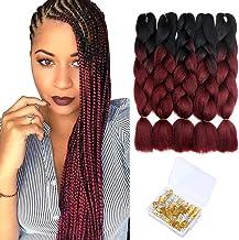 Ombre Braiding Hair Extension Kanekalon Synthetic Hair Crochet Braids Two Tone Jumbo Braiding Hair 24 Inches, 5Pack/Lot (1B/Bug)