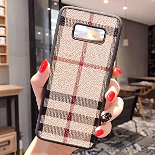 Boozuk Galaxy S9 Case, Luxury PU Leather Large Vintage Check Style Shockproof Cover Case for Samsung Galaxy S9 5.8