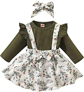 Baby Girls Clothes Suspender Skirt Sets Long Sleeve Ruffled Tops+Floral Dress+Headband Fall Outfits 0-24 Months