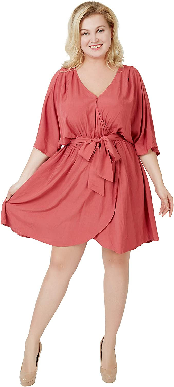 Carrotomato Women's Plus Size Casual Dress V Neck Slit Belt Swing Skirt with Pocket