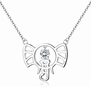 Sllaiss 925 Sterling Silver Swarovski Crystal Good Luck Elephant Necklace for Women Anniversary Birthday Jewelry Gift for Wife Girlfriend Daughter