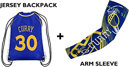 Forever Fanatics Golden State Curry #30 Basketball Fan Gift Set ✓ Curry #30 Jersey Drawstring Backpack & Matching Compress...