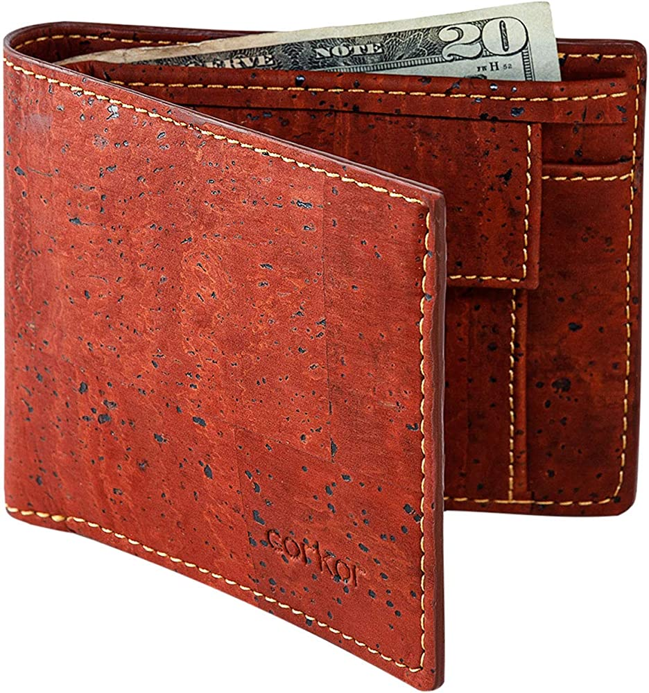 Corkor, portafoglio per uomo, in sughero, protezione rfid con portamonete, rosso CK243V