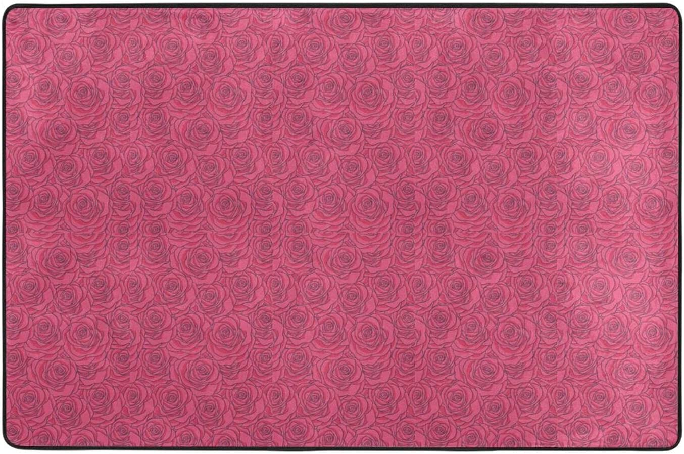 Red Dealing full price reduction Rose Floral Indoor Outdoor Backing Slip Anti Durable Very popular Carpet