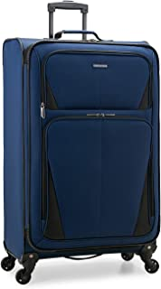 U.S. Traveler Aviron Bay Expandable Softside Luggage with Spinner Wheels, Navy, Checked-Large 31-Inch