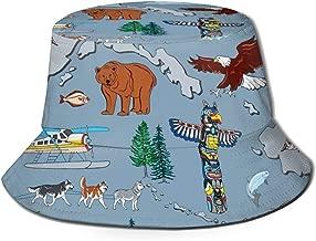 Alaska Last Frontier Bucket Hat Summer UV Sun Fisherman Cap Unisex for Travel Beach Outdoor