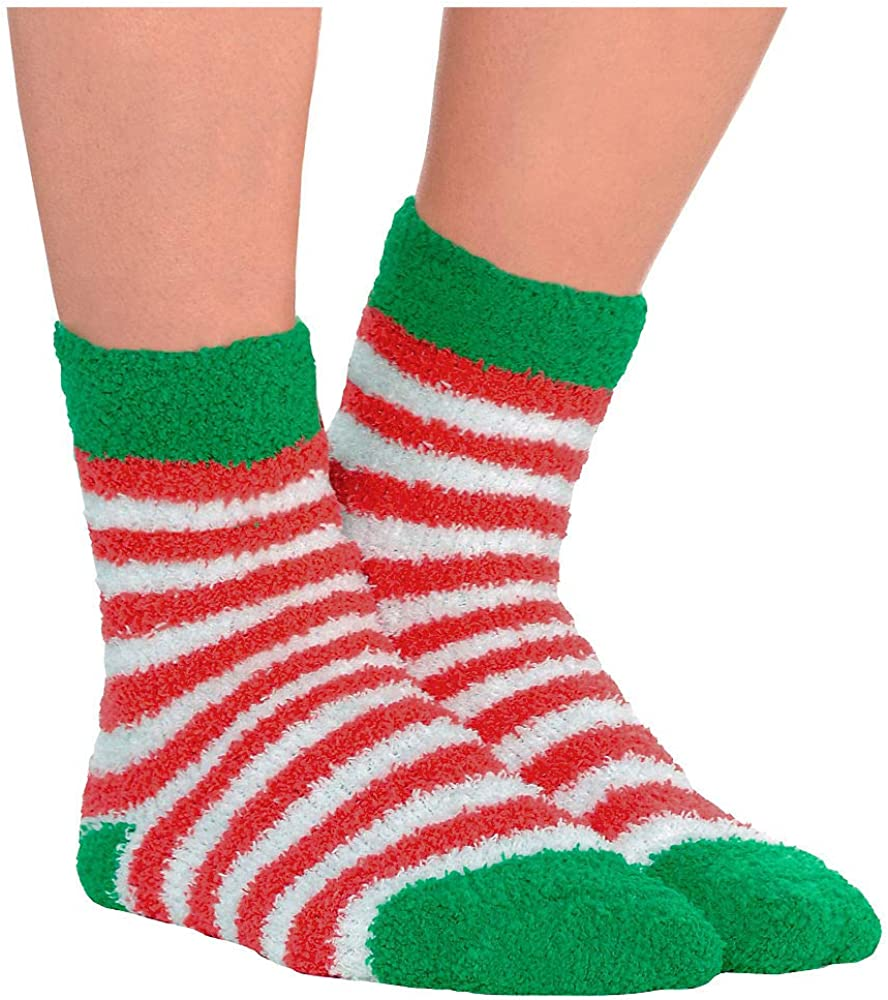 HollyDel Attention brand 4 years warranty Christmas Socks and Scarves; Striped So Fuzzy