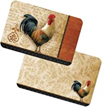 """Unique & Custom {11 x 17 Inch} Set Pack of 4 Rectangle """"Non-Slip Grip Texture"""" Large Reversible Table Placemats Made of PVC Plastic w/ Classic Rustic Country Rooster Design [Colorful Brown & Red]"""