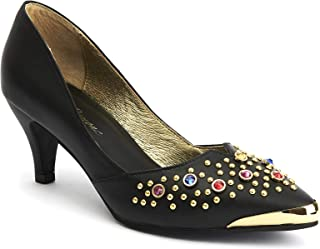 Lola Ramona: Kitten Glam - Women's Leather Pointed to Pumps with Gemstones