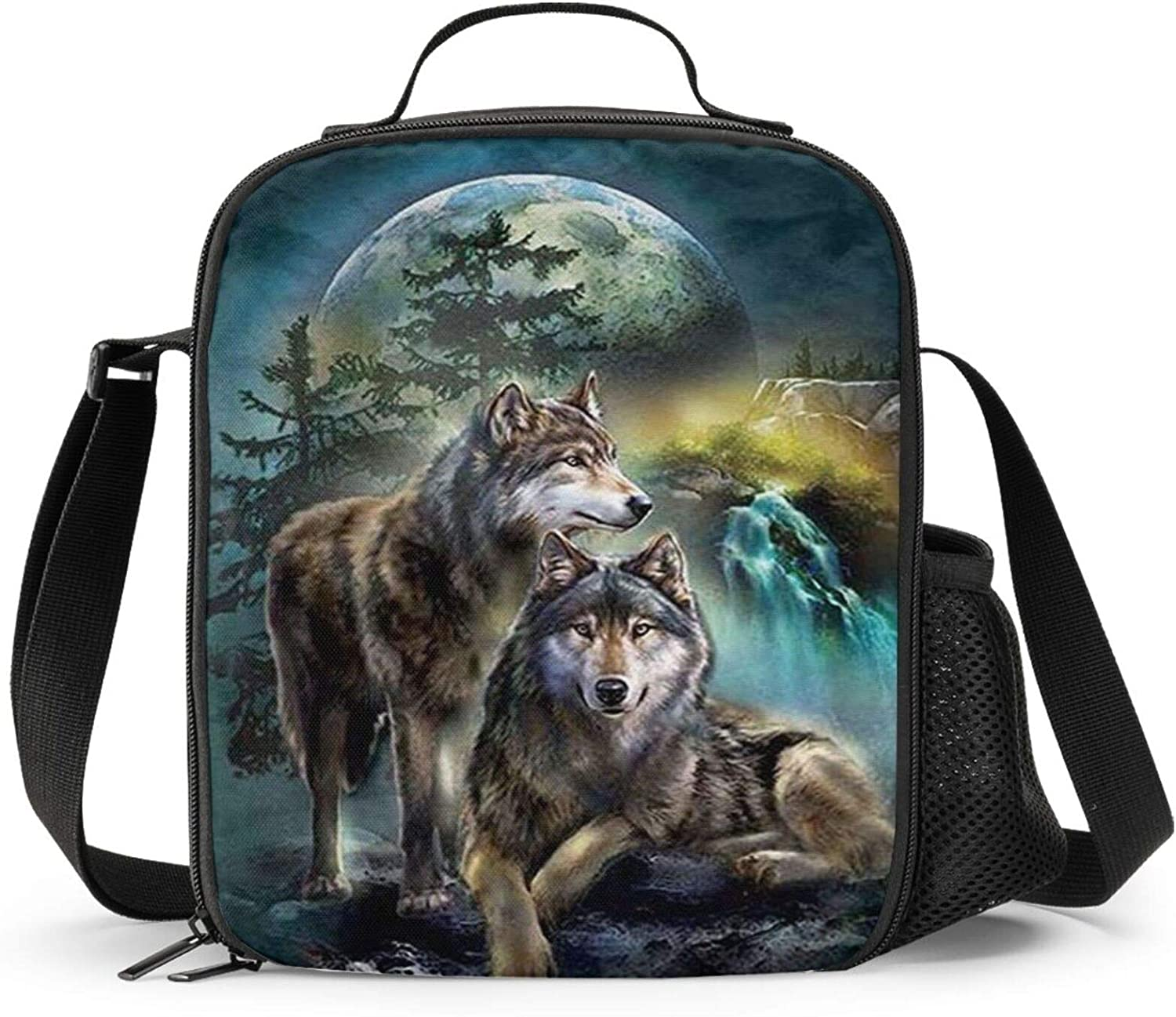 PrelerDIY Wolf Lunch Box - Insulated Lunch Box for Kids Funny 3D forest Design with Side Pocket & Shoulder Strap Lunch Bag Perfect for School/Camping/Hiking/Picnic/Beach/Travel