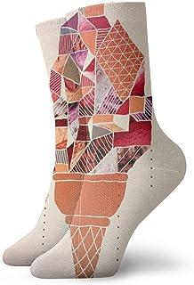 Wdskbg Short Socks Crew Sock Ice Cream with Geometric Pattern 3D Printed Sport Athletic Socks 30cm Long Socks