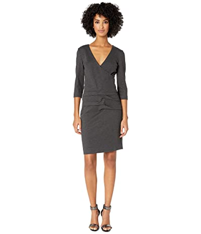 Nicole Miller Ponte Tidal Pleat Dress (Charcoal) Women