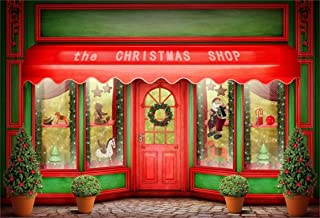 AOFOTO 8x6ft Front Door of Christmas Shop Photography Background Xmas Store Display Window with Toys Backdrop Holiday New Year Tree Kid Baby Child Girl Boy Portrait Photo Studio Props Wallpaper