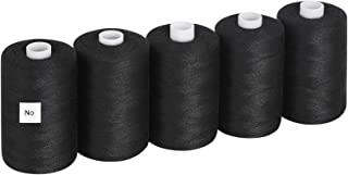 MOOACE Sewing Thread Cotton Black Thread for Sewing Machine, 1000 Yards Per Spools, Set of 5