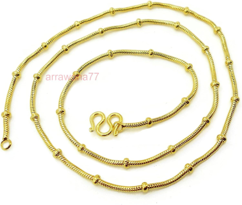 arrawana77 Necklace Women Girl Jewelry 22K 23K 24K Thai Baht Yellow Gold Plated 7.5 Grams 18 inch