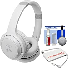 Audio-Technica ATH-S200BT Bluetooth Wireless On-Ear Headphones (White) with Portable Charger + Cleaning Kit