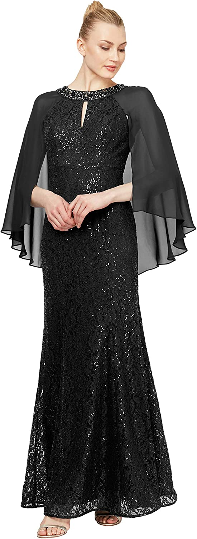 70s Sequin Dresses, Disco Dresses S.L. Fashions Womens Long Sequin Dress with Capelet  AT vintagedancer.com