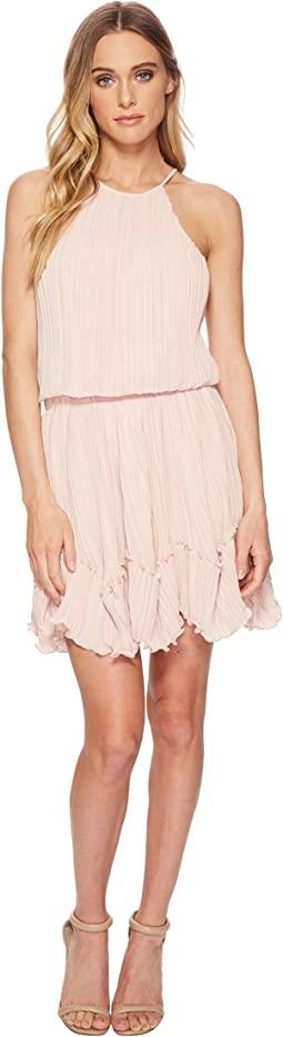 Sleeveless Round Neck Dress w/ Pleated Flounce