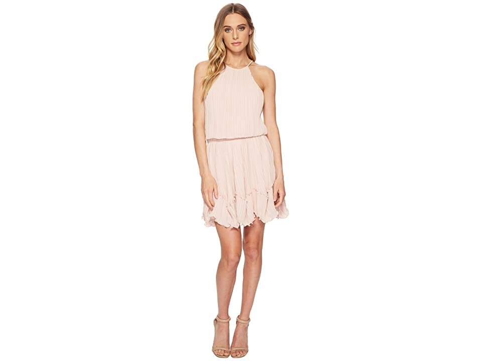 Halston Heritage Sleeveless Round Neck Dress w/ Pleated Flounce (Bloom) Women