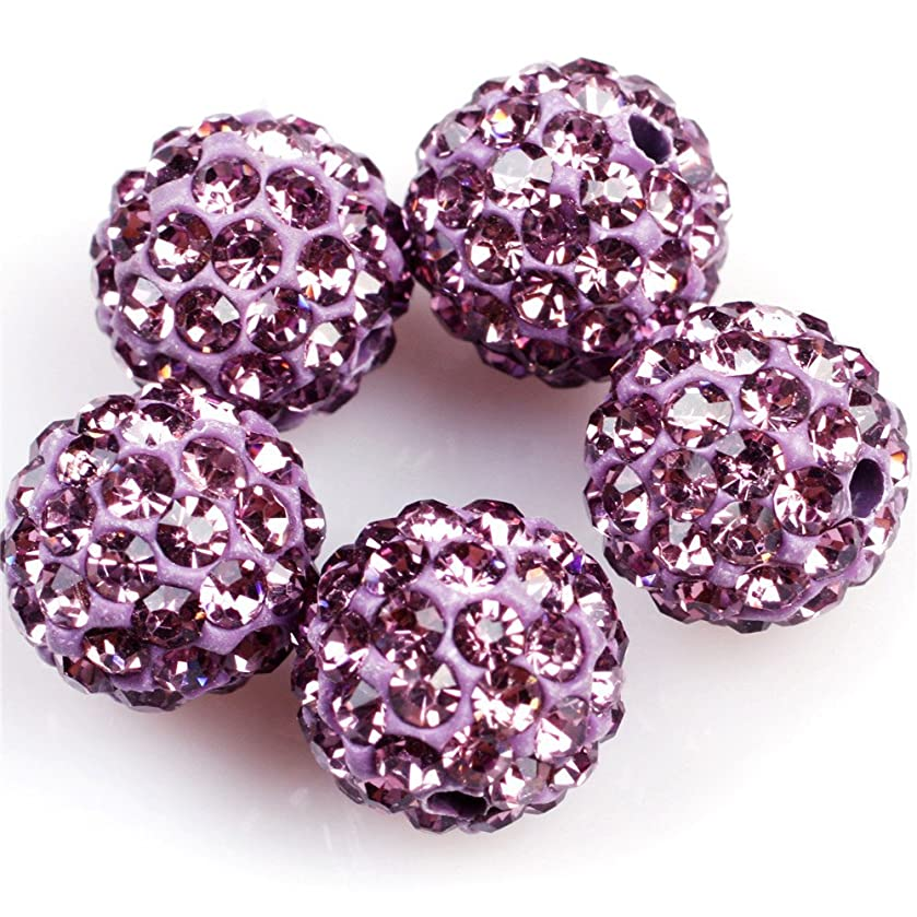 Lots Of Pave Shine Purple Beads 10mm For Jewelry Making (10 Beads Per Lots)